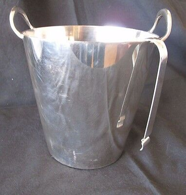 ANTIQUE C.1920`s SILVER PLATE ICE BUCKET WITH HAMMERED TONGS HALLMARKED