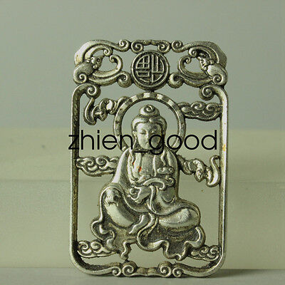 Collectible Miao Silver Carving Old Guanyin Statue Pendant Amulet