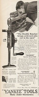 1922 Yankee Tools Ratchet Hand Drill No 1530 North Bros Philadelphia Vintage Ad