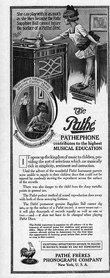 1916 Pathe Freres Phonograph Pathephone Disc Record Player Musical Education Ad