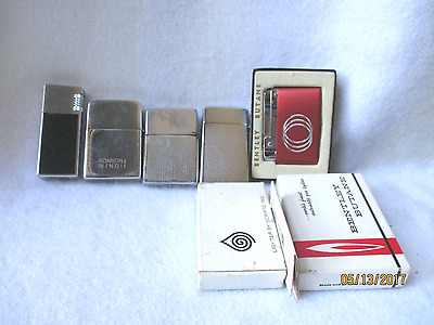 Lot Of 5 Vintage Collectible Butane Cigarette Lighters