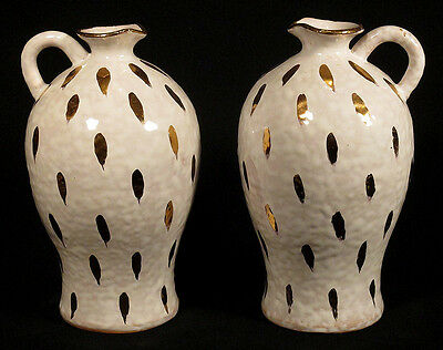 1950s Vintage Pair VASES Pitchers ITALY Mid-Century Modern Pottery White Gold NR