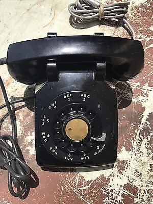 Vintg Bell System Western Electric G1 Black Rotary Dial Desk Telephone