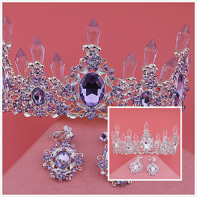 Wedding Bridal Purple Rhinestone Crown Princess Tiara Headband Hair Jewelry Set