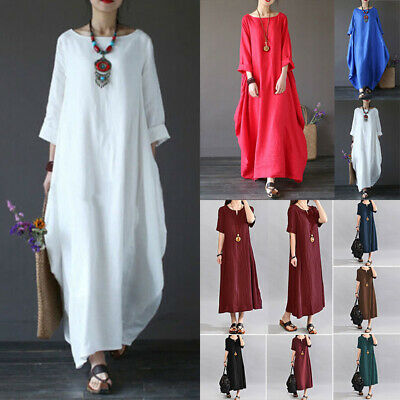 Women Baggy Cotton Linen Kaftan Dress Summer Beach Loose Long Maxi Sun Dress Hot