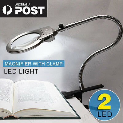 Clip Lighted Table Top Desk Magnifier Lamp LED Light Magnifying Glass With Clamp