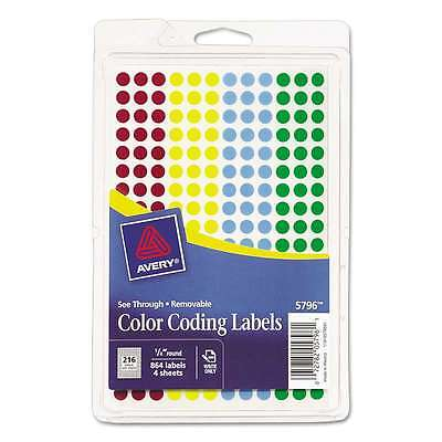 Avery® See Through Removable Color Dots, 1/4 dia, Assorted Colors 072782057961