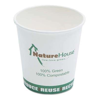 NatureHouse® Compostable Live-Green Art Hot Cups, 10oz, White, 50 899609002641