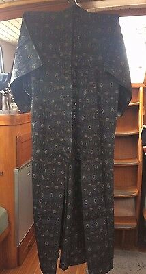 Fab Navy Blue Patterned Vintage Japanese Full Length Kimono