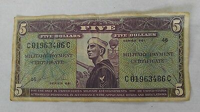 Series 681 $5 Military Payment Certificate MPC - C 01963486 C