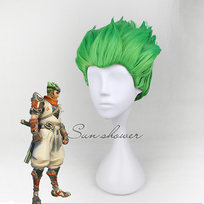 Overwatch OW Genji Green Wig Short Hair Slicked-back Wig Cosplay lolita Party