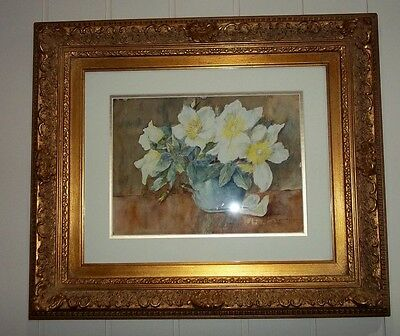 Watercolour by Listed Artist , Beatrice Darbyshire , in Large Decorative Frame .