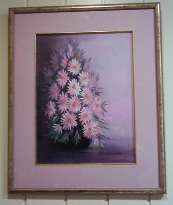 Oil Painting , ' Daisies in Pink ' , by Meg Wilson .