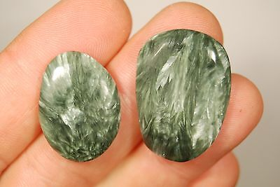 2 SERAPHINITE PALM STONES 11g Healing Crystal Worry, Spiritual Enlightenment