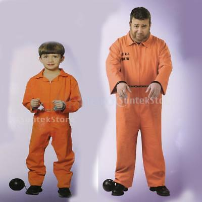 Orange Prisoner Overall Jumpsuit Convict Stag Do Party Fancy Dress Costume Favor