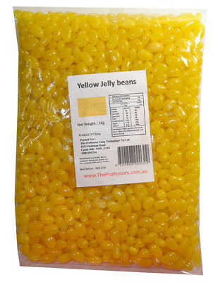 Sweet Treats Mini Jelly Beans - Yellow with a Lemon Flavour (1kg Bag)
