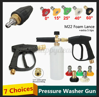 Pressure Washer Trigger Gun Snow Foam Lance Spray Tips Rotary Turbo Nozzle Kits