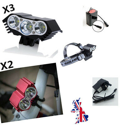 Rechargeable Bicycle Bike Cree LED X2 Headlight Front Headlamp Torch 2600/7500LM