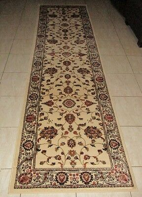 New Extra Long Cream Persian Design Heatset Floor Hallway Runner Rug 80X500Cm