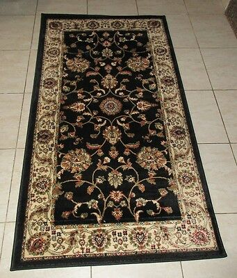 New Black Persian Design Heatset Floor Hallway Runner Rug 80X150Cm