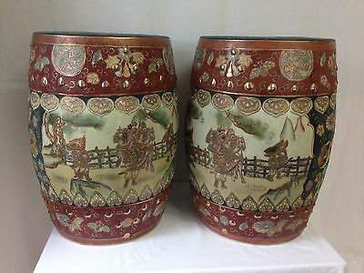 Vintage Chinese Porcelain and Cloisonne Garden Stools Pair