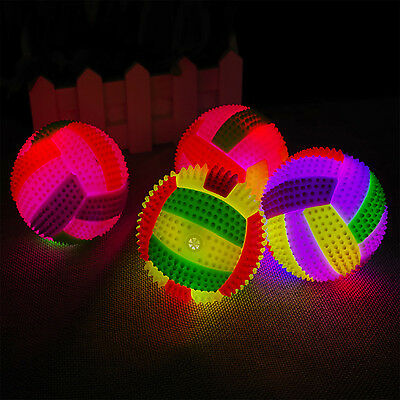 LED Volleyball Flashing Light Up Color Changing Bouncing Hedgehog Ball Dog Toy B