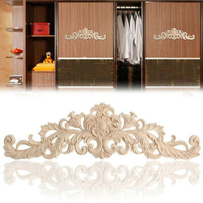 Wood Carved Applique Craft Frame Onlay Decal European Style Furniture Door Decor