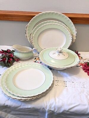 Grindley CREAM PETAL part dinner set pale green very pretty
