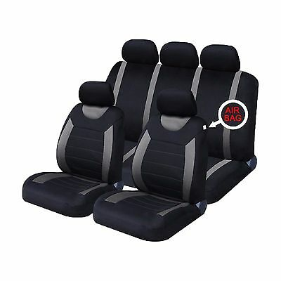 Universal Grey Black Sports Racing Car Seat Cover Full Set 9 Piece Airbag Ready