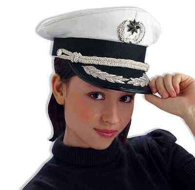 Deluxe Police Officer Hat Navy White Costume Accessory Adult Yacht Captain Cop