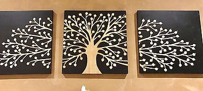 Black Carved Tree Of Life Timber Wall Art-Deco Wood 3 Panel