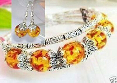 Beautiful Tibet Silver Handmade AMBER Woman Bracelet And Earrings Set Jewelry