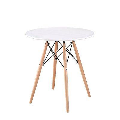 DSW White Round Dining Table Eiffel Style Lounge Bar Wood Leg Meeting Table