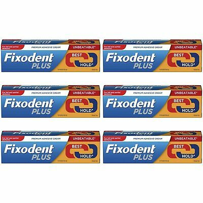 6 x Fixodent Plus Dual Power Premium Denture Adhesive Cream Long Last Strong 40g