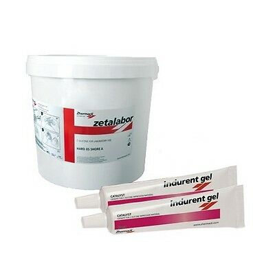 ZETALABOR ZHERMACK 5KG + 2x60 ml INDURENT GEL. DENTAL SILICONE SILICONA.