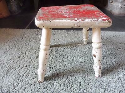 Antique Small  Old Painted Pine Stool  Seat Step Victorian Old