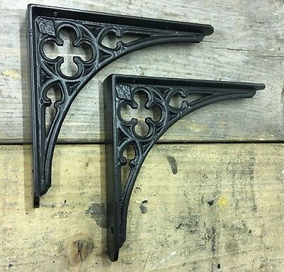 "Pair of 8x7"" Cast Gothic Shelf Brackets - Antique Style Old Heavy Duty"