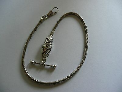 snake head Single albert silver plated snake rope pocket watch chain fob t bar
