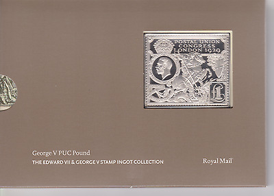 Gb George V Puc Pound 925 Silver Ingot Stamp Royal Mail / Mint