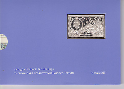 Gb George V Seahorse 10 Shillings 10/- 925 Silver Ingot Stamp Royal Mail / Mint