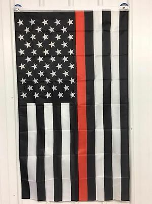 Thin Red Line American Flag 3x5 ft Respect Honor Fire Fighter Volunteer VFD USA
