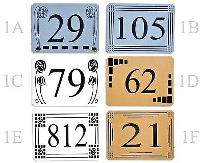 Door House Sign Plaque Number Plate Personalised 7 Designs & 3 Colours To Choose