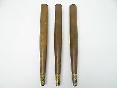 Set of Three Lot Modern Brass Feet Wood Furniture Stool Table Legs Parts Used