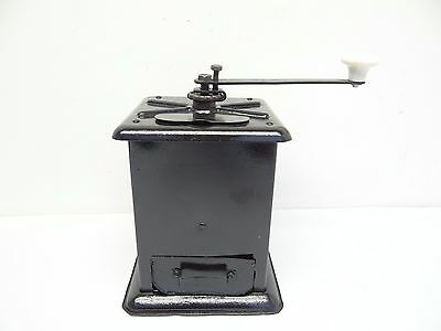 Antique Old Black Table Top Metal Coffee Grinder Restored Mill Used