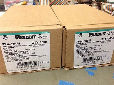 Panduit Ring Terminal, Qty: 2000. Pv14-10r-m, Stud 10, Wire Size 14-16