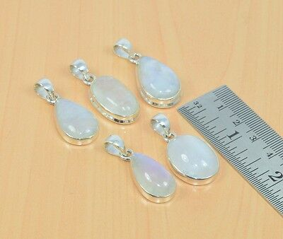 Wholesale 5Pc 925 Solid Sterling Silver Natural Ranibow Moon Stone Pendant Lot