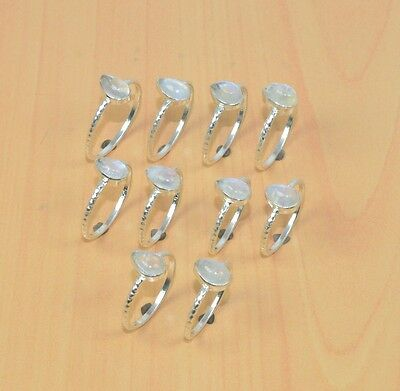 Wholesale 10Pc 925 Solid Sterling Silver Natural Rainbow Moon Stone Ring Lot