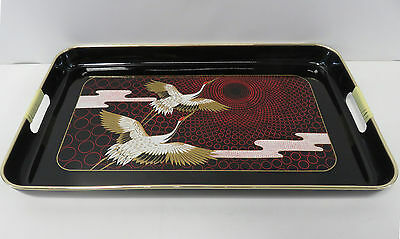 "Japanese Black Coloured Lacquered Oblong Tray With Crane Detail 18.5"" Length"