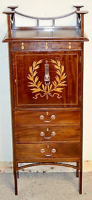 Art Nouveau Mahogany Inlay Music Cabinet, nationwide delivery