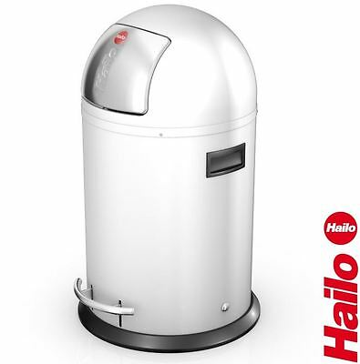 Hailo KickMaxx 35 Litre Home Kitchen Modern Waste Pedal/Push Bin - White